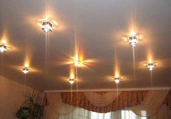 Установка светильников светодиодных
